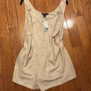 NWT Forever 21 Natural Linen Button Front Romper